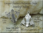 Sterling Silver Victorian Jewelry Finding, Grape Clusters and Scallop