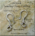 Sterling Silver Dotted J-Hook Jewelry Clasp, 20mm