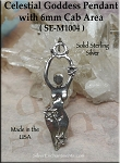 Sterling Silver Celestial Goddess Pendant with 6mm Cab Area