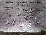 Sterling Silver Mini Zodiac Glyph Charms, Set of 12 Astrological Sign Charms