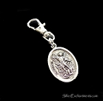 Silver St. Michael Zipper Pull Backpack Clip Purse Fob Guardian Angel Swivel Clip On Charm