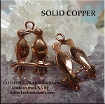 Solid COPPER Love Birds Pendant - CLOSEOUT