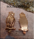 Solid COPPER Owl Charm, Genuine Copper Owl