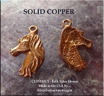 Solid COPPER Horse with Flowing Mane Charm - CLOSEOUT