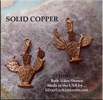 Solid COPPER 3D Prickly Pear Cactus Pendant - CLOSEOUT