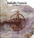Solid COPPER Butterfly Pentacle Pendant - CLOSEOUT