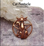 Solid COPPER Cat Pentacle Pendant - CLOSEOUT