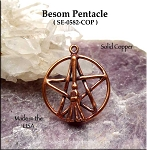 Solid COPPER Besom Pentacle Pendant - CLOSEOUT