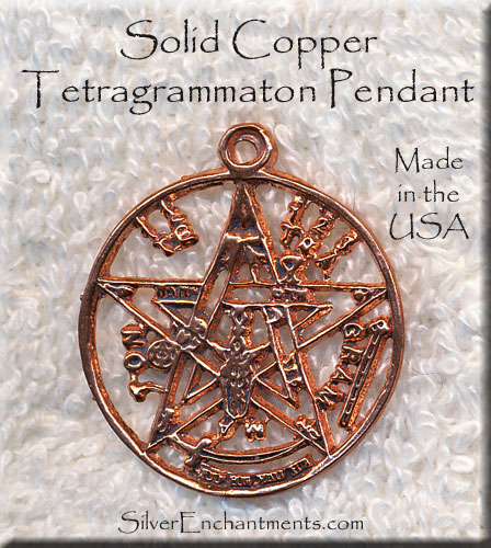 Copper tetragrammaton pendant large esoteric pentagram silver share mozeypictures Gallery