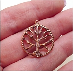 Solid COPPER Ringed Tree of Life Pendant, CLOSEOUT