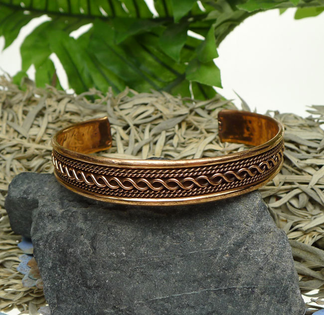 Copper Braided Rope : Copper cuff bracelet twisted rope and braided pattern