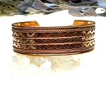 Copper Large Cuff Bracelet, Multiple Pattern Design - Thick Profile