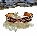 Pure Copper Bracelet - Twisted Rope and Link-Braid Pattern