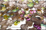 Celtic Trefoil Beads, LIGHT ROSALINE Vitrail Czech Glass Beads - CLEARANCE