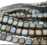 Czech Glass Tile Beads CzechMate 2-Hole Beads, MATTE IRIS BROWN