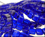 CzechMates Glass 2-Hole Tile Beads, COBALT