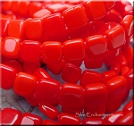 CzechMates Czech Glass 2-Hole Tile Beads, OPAQUE RED
