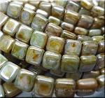 CzechMates 2-Hole Tile Beads, OPAQUE GREEN LUSTER Strand