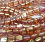 Glass CzechMates 2-Hole Tile Beads, ROSE GOLD TOPAZ LUSTER Strand