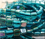 Czech Glass Tile Beads CzechMates 2-Hole Beads Strand, TWILIGHT TEAL