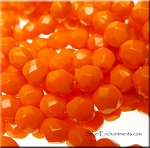 6mm Opaque BRIGHT ORANGE Firepolished Beads