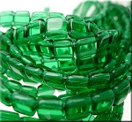 CzechMates Two-Hole Tile Beads, GREEN