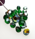 Emerald Green Vitrail 6mm Faceted Round Czech Glass Fire Polished Beads