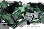 Czech Glass Beads, GREEN-BLACK with GREEK KEY Design