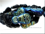 Czech Glass Beads, Owl Beads, JET BLACK AB, 20x12mm