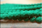 6mm Neon Emerald Fire Polished Beads