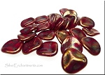 14mm Rose Petal Beads, RED BRONZE PICASSO Czech Glass Beads - CLEARANCE