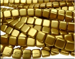 CzechMates 2-Hole Tile Beads, MATTE AZTEC GOLD