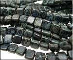 CzechMates 2-Hole Tile Beads, MATTE JET PICASSO, Czech Glass Beads