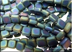CzechMates Tile Beads, MATTE IRIS GREEN, Czech Glass Beads