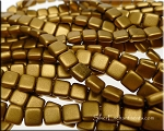 CzechMates 2-Hole Tile Beads, MATTE GOLDENROD Strand