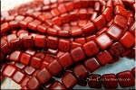 6mm 2-Hole Square CzechMates Tile Beads, Opaque RED BLACK PICASSO Strand