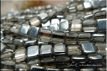 2-Hole CzechMates Tile Beads, SILVER HALF-COAT, Czech Glass Beads