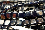 CzechMates 2-Hole Tile Beads, NAVY MOON DUST Strand
