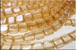 2-Hole CzechMates 6mm Tile Beads, Transparent CHAMPAGNE LUSTER Strand