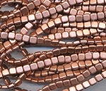 CzechMates 2-Hole Flat Square Tile Beads, MATTE METALLIC COPPER, Strand