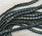 2-Hole Square CzechMates Czech Glass Tile Beads, MATTE JET BLACK Strand