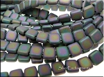 CzechMates Square 2-Hole Tile Beads, MATTE IRIS PURPLE