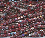 CzechMates 2-Hole Tile Beads - Opaque RED PICASSO Czech Glass Beads Strand