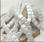 CzechMates 2-Hole Square Tile Beads, SNOW Pearl Coat (25)