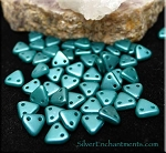 TEAL Pearl Coat CzechMates Czech Glass Triangle Beads