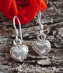 Heart Earrings, Sterling Silver Country Heart Charm Earrings