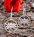 Lotus Earrings, Sterling Silver Ringed Lotus Charm Earrings
