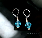 Blue Topaz Earrings, Dangling Bicone Crystal Earrings on Silver Leverback Earwires