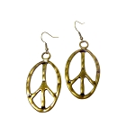 Large Peace Earrings, Hammered Peace Sign Earrings, Antique Brass Peace Jewelry