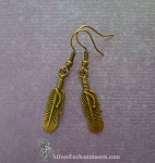 Feather Earrings, Bronze Feather Charm Earrings, Feather Jewelry